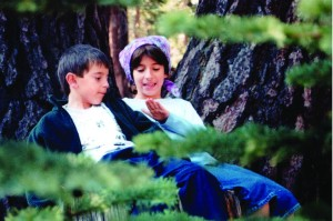 Kids in the woods at Mammoth Lakes